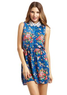 Blue and Floral Sleeveless Dress by Ali & Kris - $29.99