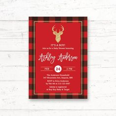 Plaid Deer Baby Shower or Bridal Shower Printable Invitation by CrissyDesignCo Deer Baby Showers, Boho Baby Shower, Baby Shower Games, Bridal Shower, Baby Animal Games, Bridal Bingo, Fingerprint Tree, Baby Bingo, Whats In Your Purse