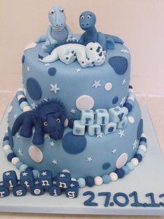 dinosaur christening cake  Cake by cakesbyzoe
