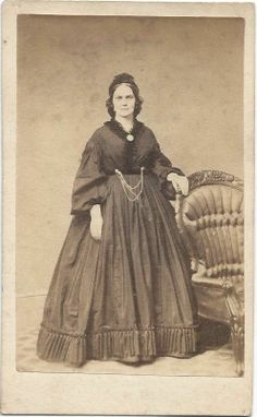 1860s Woman Fine Dress by Gard Chicago Ill CDV | eBay Anyone care to guess what colours the dress and trim are on this one?