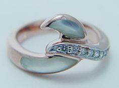 $1540 Kabana 14K Rose Gold Diamond White Mother of Pearl Ring