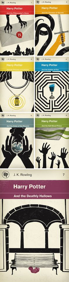 Here is another Harry Potter book series design by M.S. Corley. This style is very unique and quite different to the others.
