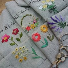 stitch sampler of flowers