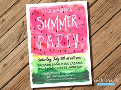 Summer Party Invitation, Watercolor Watermelon Invitation, Pool Party Invitation, BBQ Party Invitation, Printable Invitation for Party by RockCreekPaperCo on Etsy