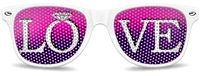 Super hot pink and purple lenses with super white sunglasses frames splashed with our favorite word -- LOVE!    But this is your wedding day, so of course, we turned the O into a diamond engagement ring!    This style is part of our ready-to-go in-stock styles, so you'll receive them super fast if you order today!     You can wear this style for the bachelorette party no matter where you go! The girls will love them!    But be careful, they will obstruct vision -- so no driving. Just…