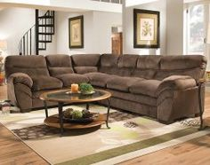 This plush chocolate brown microfiber sectional sofa by Simmons is all about comfort and relaxation : simmons 2 piece sectional - Sectionals, Sofas & Couches