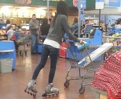 Rollerblading at Walmart - Funny Pictures at Walmart (those are my exact skates.which makes that lady cool). Walmart Funny, Only At Walmart, People Of Walmart, Walmart Pictures, Best Funny Pictures, Funny Pics, Hilarious, Walmart Shoppers, You Make Me Laugh