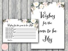 White Wishes for the Bride to be Card Wishes for by BrideandBows