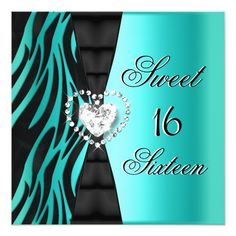 Sweet 16 Sixteen Birthday Party Zebra Teal Blue 5.25x5.25 Square Paper Invitation Card