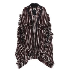Burberry     Knit Jacquard Blanket Cape (€960) ❤ liked on Polyvore featuring outerwear, burberry, russet brown, houndstooth cape coat, knit cape, burberry cape and houndstooth cape