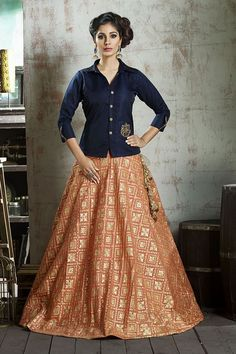 Picture of Contemporary blue & orange lehenga set Choli Designs, Kurta Designs Women, Lehenga Designs, Saree Blouse Designs, Lehenga Top, Saree Dress, Lehenga Choli, Orange Lehenga, Sharara