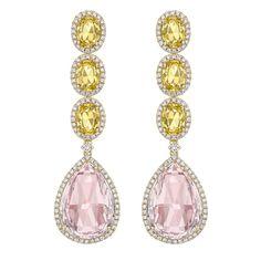 Lemon Beryl and Morganite Drop Earrings