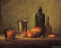 Jean-Baptiste-Siméon Chardin - Bigarade, gobelet d'argent, pommes d'api, poire et deux bouteilles