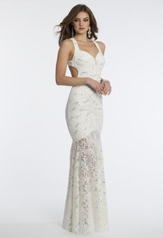 Camille La Vie Sequin and Lace Halter Prom Dress with Side Cutout