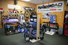 Inside Rack N Road San Jose, CA showing off our Thule and Inno bike rack systems