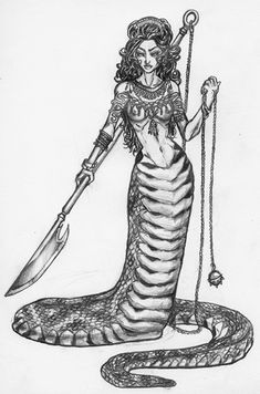 Google Image Result for http://veryhistory.pad-soa-th.com/images/2012/03/sechidnabeg.jpg    Echidna, the mother of all monsters. Said to have the head and torso of a beautiful woman and the lower half of a serpent.