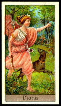 "https://flic.kr/p/m2zCXt | Cigarette Card - Diana | Boguslavsky's Cigarettes ""Mythological Gods & Goddesses"" (series of 25 issued in 1924) #25 Diana ~ Roman Goddess of Hunting"