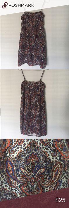 Spaghetti Strap Silk Paisley Summer Dress Summery spaghetti strap paisley print dress. Adjustable straps. Waist provides stretch. Fully lined. 100% silk. J. Crew Dresses