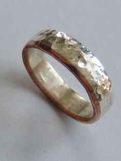 Silver and Copper Male Wedding Band by NaturalJewellery on Etsy, £60.00