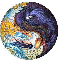 A beautiful Yin Yang design with a collage of creatures, by ArtofTu.deviantart.com on @deviantART