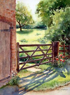 Farm gate Ann Mortimer water color art #shadows #landscape