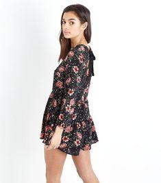 Petite Black Floral Long Sleeve Playsuit | New Look