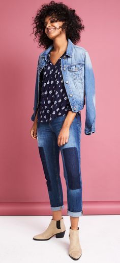We're all about denim –– especially these patched jeans. They add just the right amount of extra oomph without being too overpowering. And since they're just a darker shade of denim, they'll still match everything in your wardrobe. But if you're really feeling the denim look, pair with a medium wash jean jacket, and a navy top. We've definitely got the blues (but in a good way).