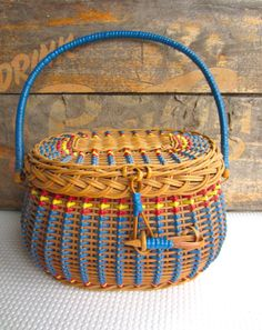 Vintage Wicker Sewing Basket with Blue Handle of plastic and wicker.