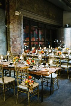 colorful reception - photo by M2 Photography http://ruffledblog.com/dinner-party-wedding-at-brooklyn-winery