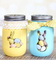 Easter bunny treat jars / Nyuszis húsvéti ajándék cukorkatartó üvegek befőttes üvegekből / Mindy