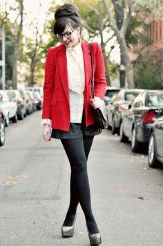 Keiko Lynn in black pantyhose, shiny silver heels, shorts and bright red coat