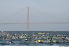 Swimmers by the Golden Gate in the 2008 Escape from Alcatraz Triathlon, which I competed in.