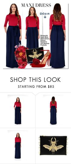 Navy and Burgundy Desir Vale Dress by mada-malureanu on Polyvore featuring Christian Louboutin, dress, maxidress, dreamydress and DesirVale