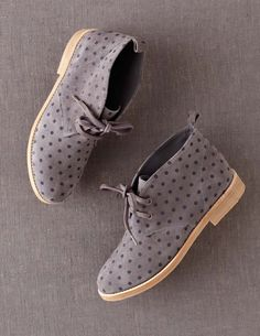Polka Dot Desert Boots by Boden Sock Shoes, Cute Shoes, Me Too Shoes, Ankle Boots, Shoe Boots, Desert Boots Women, Over Boots, Paris Mode, Moda Casual