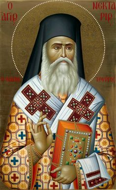 Nektarios Bishop of Pentapolis, the Wonderworker ( source ) Akathist to St. Nektarios of Pentapolis, the Wonderworker (. Byzantine Icons, Byzantine Art, Religious Icons, Religious Art, Holly Pictures, Faith Of Our Fathers, Fortune Cards, Lives Of The Saints, Religious Paintings