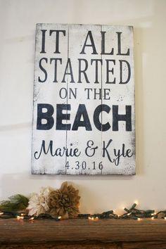 It All Started On The Beach Pallet Sign Beach Wedding Destination Wedding Shabby Chic Wedding Decor Wood Sign Handmade Handpainted #weddingdecoration