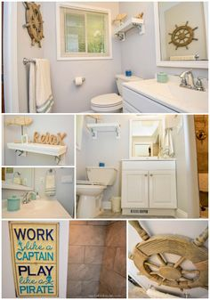 From Pink to Chic: A Nautical Bathroom Remodel- Horrible Housewife Easy decor ideas and inexpensive tutorials for a nautical themed bathroom remodel! Try this project to change up the current theme in your bathroom. Nautical Bedroom, Nautical Bathrooms, Beach Bathrooms, Nautical Theme, Southern Living, Seashell Bathroom Decor, Bathroom Ideas, Bathroom Organization, Elderly Home