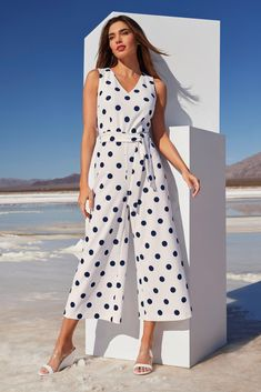Polka-Dot Tie Jumpsuit Party Dresses For Women, Trendy Dresses, Polka Dot Tie, Unique Clothes For Women, Designer Jumpsuits, Night Out Outfit, Boston Proper, Laid Back Style, Classic Elegance