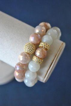 OVERVIEW Handmade in US Material moonstone, rhinestones Measurements stones - bracelet size - inches Diy Beaded Bracelets, Beaded Rings, Gemstone Bracelets, Handmade Bracelets, Gemstone Jewelry, Diy Bracelet, Wrap Bracelets, Stretch Bracelets, Diy Jewelry