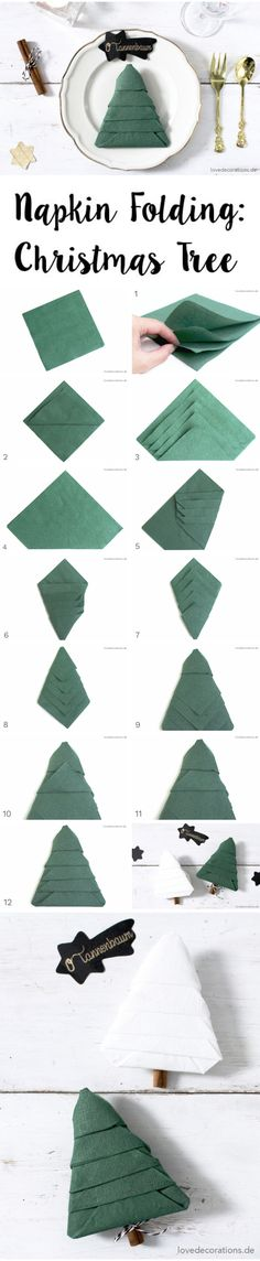 DIY napkin folding: Christmas tree and how children get a despairing laugh, - Servietten Christmas Tree Napkin Fold, Christmas Napkins, Cool Christmas Trees, Christmas Tree Design, Christmas Tree Decorations, Xmas, Christmas Christmas, Christmas Ideas, Cloth Napkin Folding