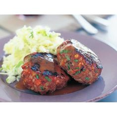 Beef and bacon rissoles recipe - By Australian Women's Weekly. Minced Beef Recipes, Minced Meat Recipe, Veal Recipes, Beef Recipes For Dinner, Bacon Recipes, Cooking Recipes, Free Recipes, Lamb Mince Recipes, Fodmap Recipes