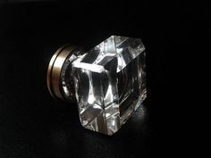 Large Faceted Glass Knob Clear Shiny / Modern Style Square Crystal Furniture Drawer Pull / Kitchen Wardrobe Cupboard Dresser Cabinet Handles. $9.00, via Etsy.
