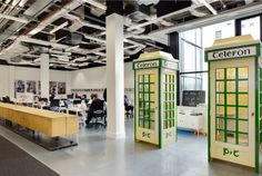 Traditional Irish telephone boxes // Airbnb's Dublin Offices designed by Heneghan Peng