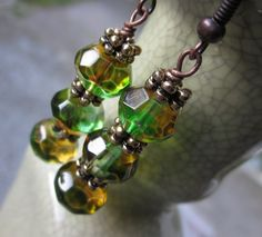 Woodland Inspired Earrings in Greens and by philosophiacreations, $16.00