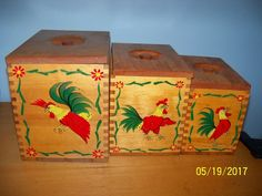 vintage wood rooster kitchen canisters set wooden storage box containers Lot