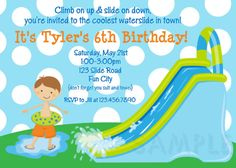 Waterslide Birthday Invitations Water Slide by TheTrendyButterfly,