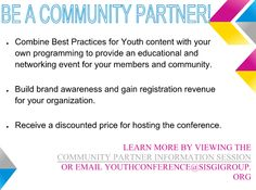 Be a Community Partner and Support Youth Development in your Local Community! #APYCON