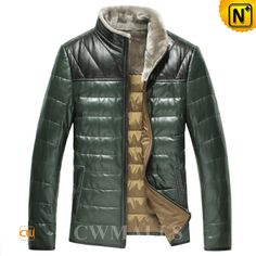 CWMALLS Quilted Down Jackets for Men CW846067 Mens quilted leather jacket with down filling, detailed with warm shearling lamb fur stand collar, contrast shoulder, full zipper front and side pockets, available in tan and dark green, stay comfortable and warm in this quilted down jacket. www.cwmalls.com PayPal Available (Price: $597.89) Email:sales@cwmalls.com