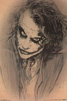 Batman Dark Knight The Joker Sketch Art DC Comics Movie Poster 22x34