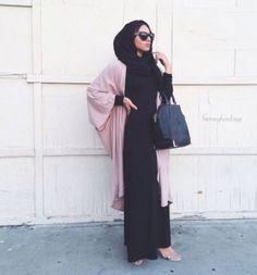 abaya cardigan in blush pink- How to style your Abaya cardigan for Ramadan http://www.justtrendygirls.com/how-to-style-your-abaya-cardigan-for-ramadan/